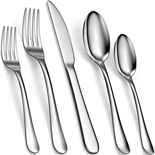 سرویس کارد و چنگال 20 قطعه نقره ای ، چنگال ، چاقو و قاشق استیل ضد زنگ 18/10 برای شام ، سالاد و سوپ ، مجموعه وسایل آشپزخانه با پرداخت صیقلی ، قابل استفاده مجدد و قابل شستشوی ماشین ظرفشویی