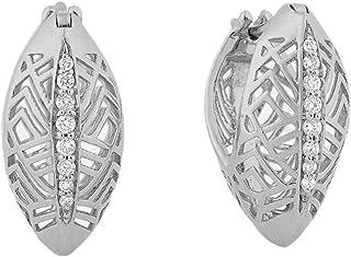 Al Zain Jewellery 18K Al Merriyah M/5 Earrings in White Gold with Diamonds - E3312