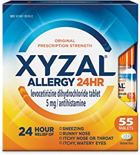Xyzal Allergy Pills, 24-Hour Allergy Relief, Original Prescription Strength, 55-Count