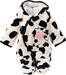 Inlefen Unisex Baby Fashion Hooded Long Sleeve Outdoor Warm Pattern Romper Jumpsuits Coat