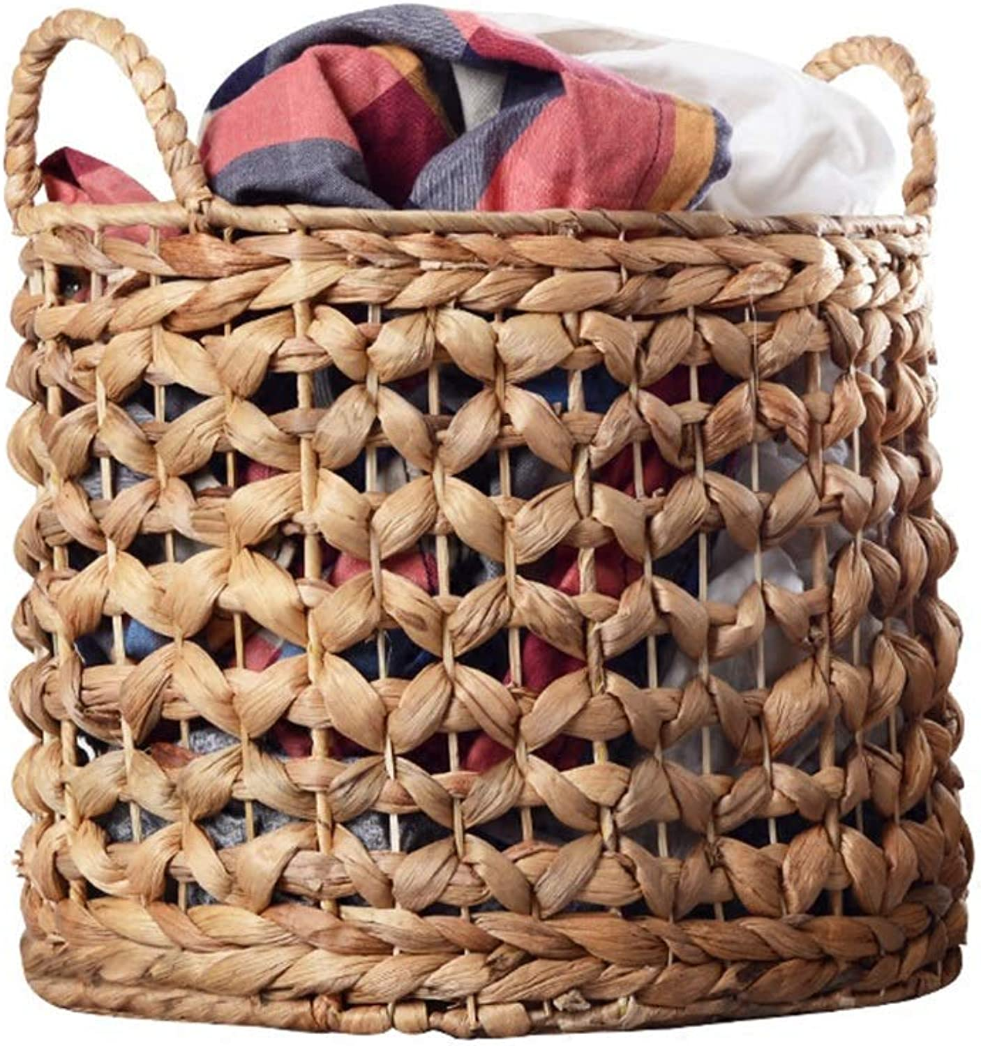 ZHANGQIANG Storage Basket Laundry Basket Medium Round Laundry Linen Willow Wicker Basket with Lining (color   Wood color, Size   A)