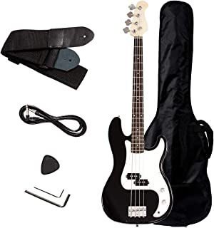 Safstar Electric Bass Guitar Full Size 4 Strings with Amp Cord Strap Bag Package for Starter Beginners (Black)