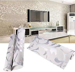 Papel de Pared 3D, Papel Pintado No Tejido Diseño Barroco Impermeable Resistente a la Humedad para Sala de Estar Habitación Cocina Comedor Fondo de TV 10 m x 0,53 m, Plateado