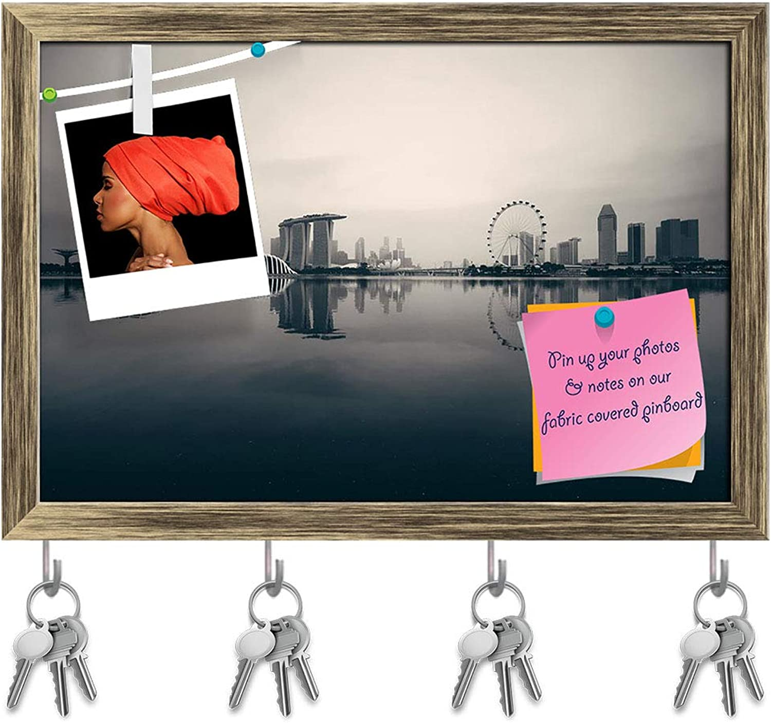 Artzfolio Singapore Skyline Key Holder Hooks   Notice Pin Board   Antique golden Frame 17.5 X 12Inch