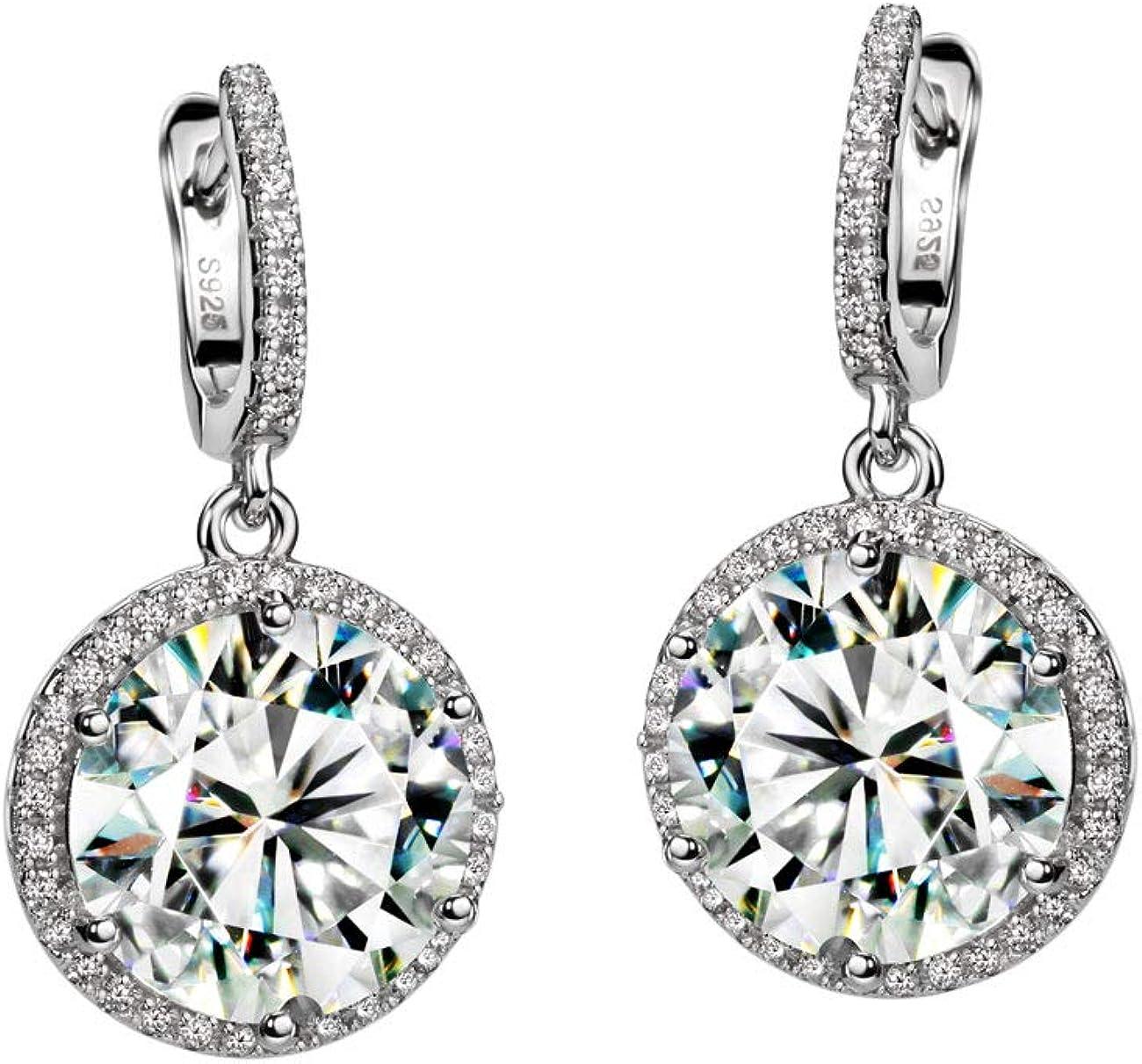 Michooyel S925 Max 55% OFF 4ct Diamond Dangle Excellent E Earrings Halo Cubic Zirconia