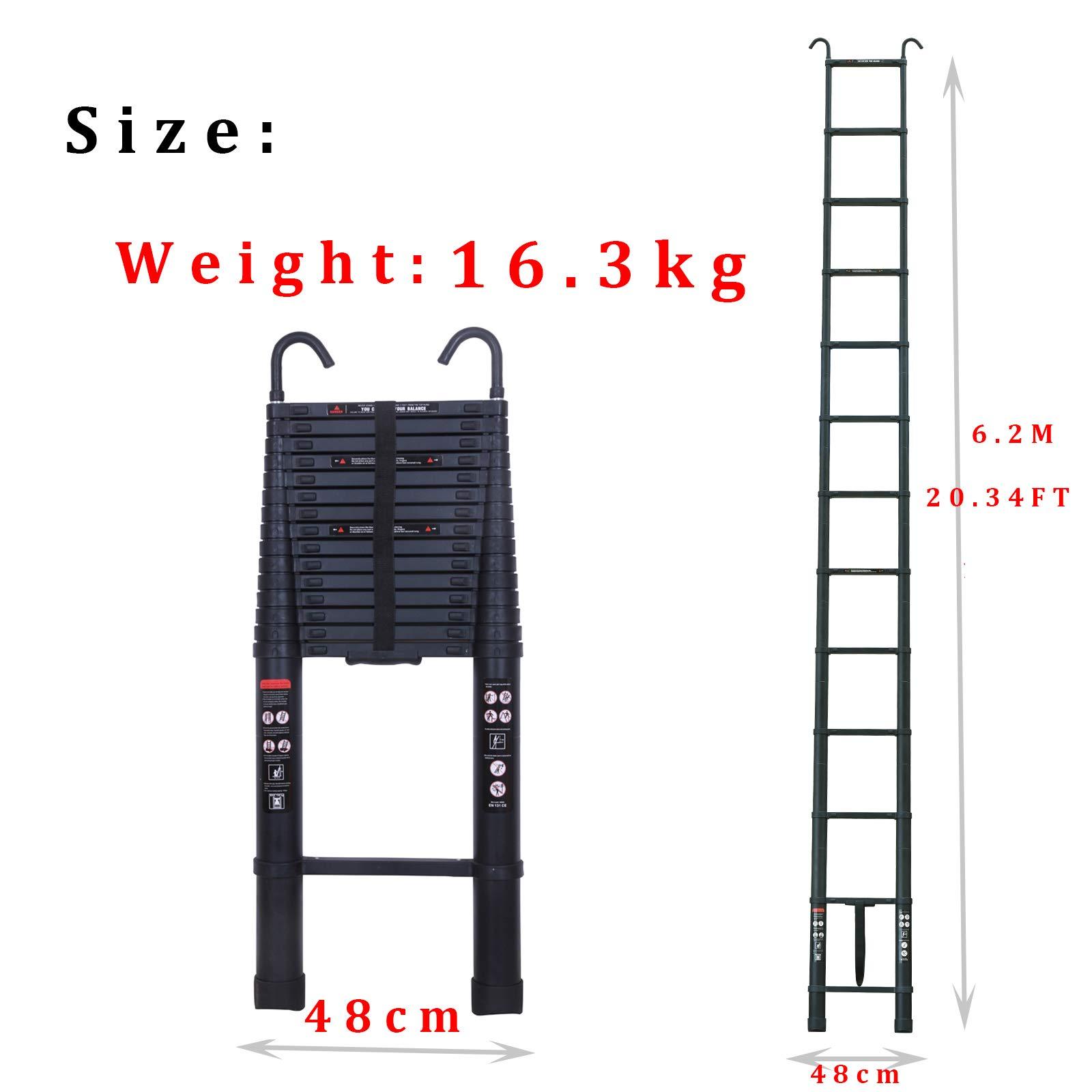 Escalera plegable de aluminio de 6,2 m con gancho desmontable, escalera de extensión recta de alta calidad con carga máxima de 150 kg, para uso multiuso: Amazon.es: Bricolaje y herramientas
