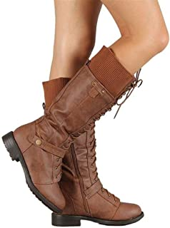 Syktkmx Womens Winter Lace Up Strappy Knee High Motorcycle Riding Flat Low Heel Boots