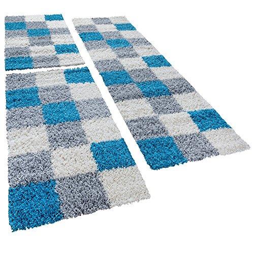 Shaggy Läufer Bettumrandung Hochflor Teppich Karo Muster In Grau Türkis 3er Set, Läuferset Größen:2 mal 70x140 1 mal 70x250 cm