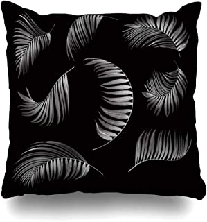 Ahawoso Throw Pillow Cover Square 16x16 Black Green Aloe Palm Leaf On Nature Coconut Agave Bamboo Bend Betel Botanical Branch Design Zippered Cushion Case Home Decor Pillowcase