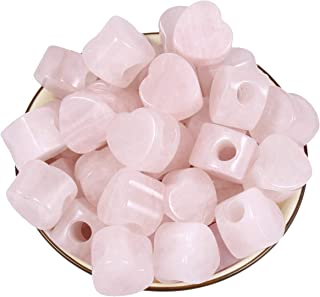 Loveliome 10 Pcs Large Hole Loose European Bead, Heart Love Jewelry Making Supplies fits Charm Bracelet,Rose Quartz