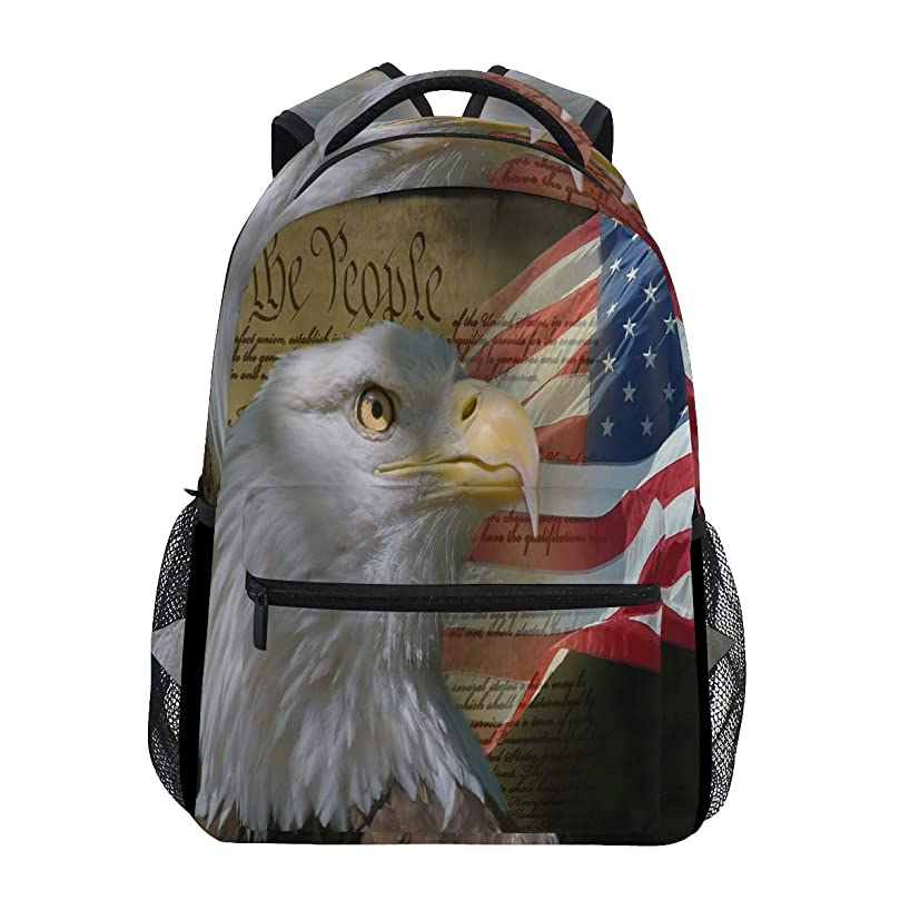 US American Flag Bald Eagle Travel Laptop Backpack Daypacks, Water Resistant College School Computer Bag Bookbag for Women & Men Outdoor Camping&Fits Up to 14-inch Notebook