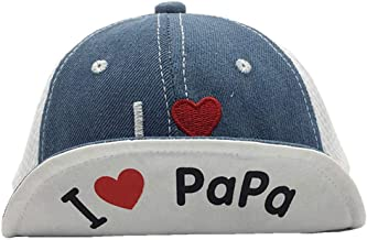 puseky Baby Baseball Cap Kids Boys Girls I Love Papa Mama Adjustable Strap Cap Sun Hats