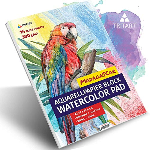 A2 Aquarell-Papier 300g / Weiß / 14 Blatt | Din A2 Aquarellblock Groß von Tritart