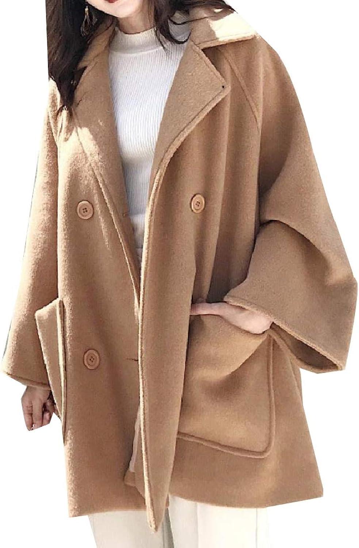 Vska Womens FoldCollar Poncho Coat Loose Woolen Belted Jacket Overcoat
