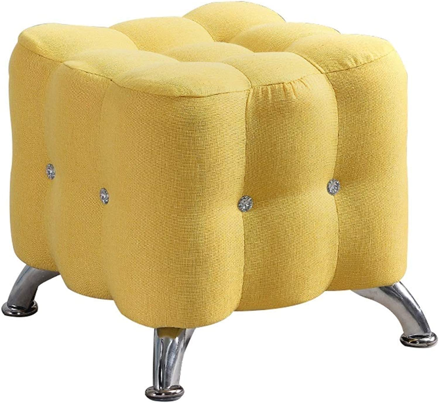 Footstool Solid Wood Frame Metal Storage Change shoes Bench Living Room Simple, 9 colors GFMING (color   Yellow, Size   40x40x40cm)