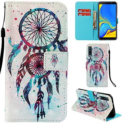 Ooboom Samsung Galaxy A7 2018 Hülle 3D Flip PU Leder Schutzhülle Stand Handy Tasche Brieftasche Wallet Hülle Cover für Samsung Galaxy A7 2018 - Bunt Traumfänger