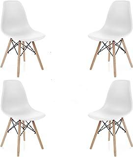 INJOY LIFE - Sillas de comedor modernas de mediados de siglo, sillas de plástico estilo retro, sillas laterales para cocina, salón comedor, juego de 4, color blanco