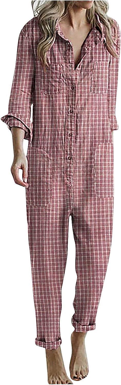 Women Plaid Button Down Blouse Jumpsuit Sexy Vintage Lapel Long Sleeves Slim Fit Patchwork Shirt Rompers w/ Pockets