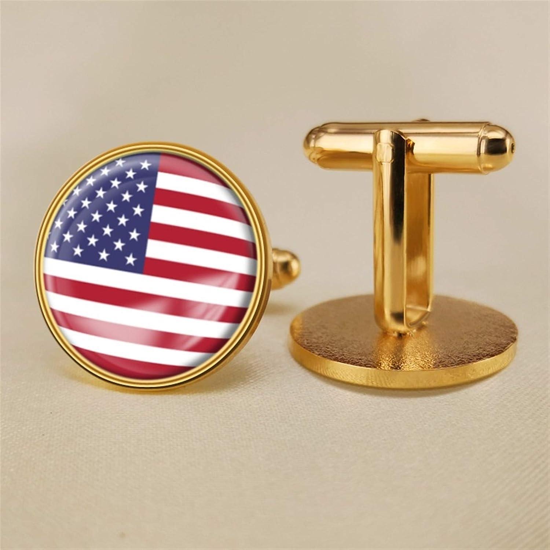 YYOBK Boys' Cuff Links,Men's Cuff Links,Shirt Studs,Sports Fan Cuff Links,American Flag Cufflinks,Round Cufflinks, Copper 19mm (Color : Gold, Size : 19mm)