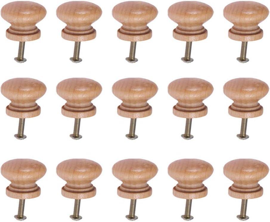 SUPVOX Pomos de madera para armarios, muebles, cajones, tiradores con tornillo para cafeterías, hoteles, restaurantes, decoración del hogar (estilo mediano) 15 unidades