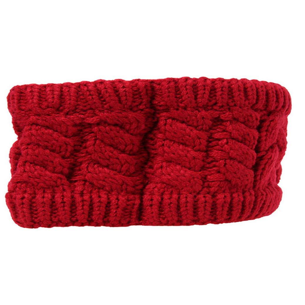GOMYIE Winter Knitted Headband Soft Stretch Winter Warm Cable Knit Fuzzy Lined Ear Warmer Headband(red)
