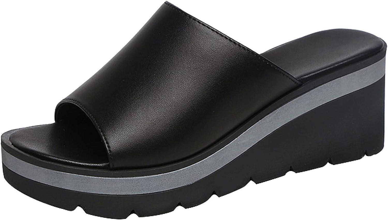 Btrada Sandals for Women Comfort Wedge Slip On Sandal Casual Peep Toe Slide Lightweight Platform Shoes Summer Wedges