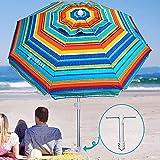 AMMSUN 6.5 ft Beach Umbrella with Sand Anchor, Portable Beach Umbrella, Outdoor Patio Umbrella UV 50+ Sun Protection, Umbrella for Beach Patio Garden Outdoor, Carry Bag (2021 Yellow Stripes)