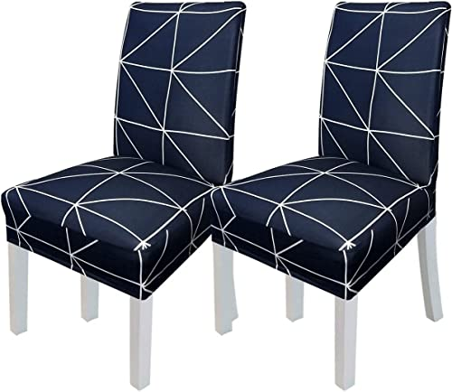 Chair Covers for Dining Room Printed Dining Kitchen Chair Slipcovers (Navy White Lines, Set of 2)