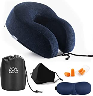 Travel Essential Pillow, Portable Memory Foam U-Shaped Pillow, Soft and Breathable Jacket, Relieve Cervical Pressure, with 3D Sleep Eye Mask + 3D Cotton Mask + 4 Soundproof Earplugs + Travel Bag Blue