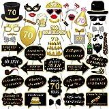 Konsait 70 ° Compleanno Photo Booth Props Foto Booth, Divertimento Compleanno Accessori Fai da Te Kit Occhiali Maschera su bastoni per Uomo Donna Celebrazione 70 Anni Compleanno (50pcs)