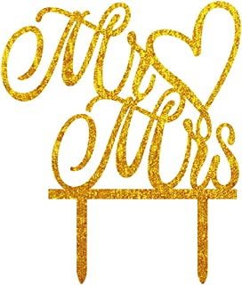 Mr and Mrs Cake Toppers Wedding Cake Topper Party Cake Decoration Gold