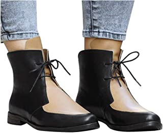 GHrcvdhw Women Solid Color Simple Stylish Round Toe Leather Shoe Square Heel Booties Lace Up Covered Leisure Boots Shoe