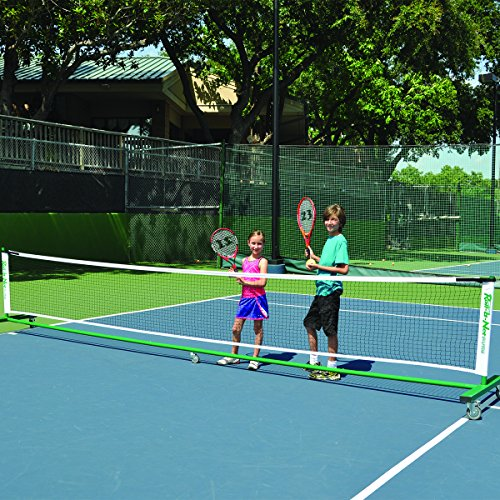 Roll-a-Net - Sturdy, Portable Tennis Net | Easy Set-Up and Quick Storage | for Tennis, Badminton, Indoors and Outdoors | 4-inch Locking Wheels | Nylon Duffel Bag on Wheels Included