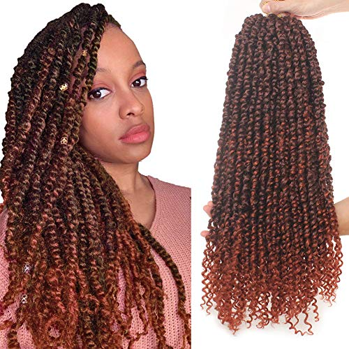 Xtrend 22 inch 6Packs Pre-Twisted Passion Twist Crochet Braids Haar Ombre Red Water Wave Pre Twisted Passion Twist Hair Synthetische Flechtverlängerungen 15 Stränge/Packung für schwarze Frauen T350#