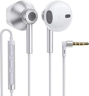 有線イヤホン QUADダイヤフラム デュアルドライバー構造 重低音重視 ハイレゾ相当の高音質 インナーイヤー型 イヤホン MEMSマイク HD通話 リモコン(3ボタン)付 音量調整 3.5mmプラグ iPhone/Android/PCなどに対応...