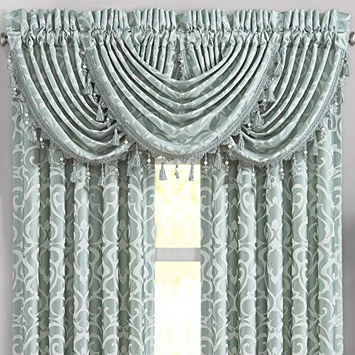 Five Queens Court Luther Luxury Window Waterfall Valance, Spa, 49X33