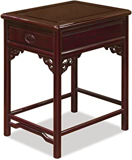China Furniture Online Rosewood Table, Hand Crafted 18 Inches Ming Style with Longevity Carving Dark Cherry Finish