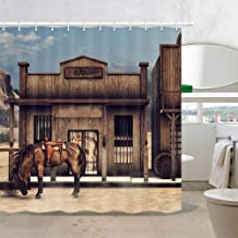 Native American Western Cowboy Fabric Shower Curtains, Wild West Town Scenery with Animals Horse in Front of Rustic Wooden Bank Shower Curtain for Bathroom, 69X70in, Bath Curtain Hooks Included