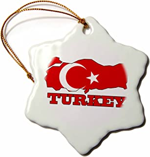 3dRose orn_63212_1 The Flag of Turkey in The Outline Map and Name of The Country Turkey Snowflake Decorative Hanging Ornament, Porcelain, 3-Inch