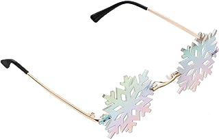 PRETYZOOM - Gafas de Sol de Copo de Nieve Gafas de Montura Irregular Gafas de Sol sin Montura sin Montura Gafas de Moda para Navidad Fiesta de Vacaciones Favor Plata Azul