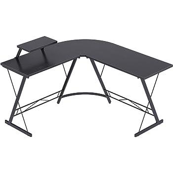 """Casaottima L Shaped Desk, 51"""" Home Office Desk with Round Corner Computer Desk with Large Monitor Stand Desk Workstation,Black"""