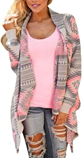 Women Striped Print Open Front Cardigans Long Sleeve Knit Sweaters