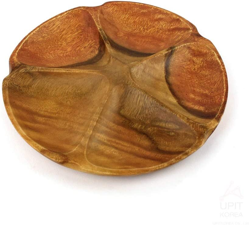   UPIT Acacia Wood 5 Section Divided Round Serving Tray Dessert Dish Platters: Divided Trays & Platters