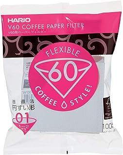 Filtro de Papel para Coador de Café V60, Tamanho 01, Pacote com 100 Hario, Branco