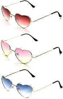 Onnea Heart Shaped Gold Metal Frame Fashion Aviator Style Multicolor Sunglasses for Women