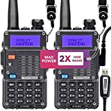 Mirkit 2X Ham Radios UV-5R MK5 Max Power with Mirkit Lanyards for Your Radio - 1800 mAh Li-ion Battery and Programming Cable Compatible for your uv5r