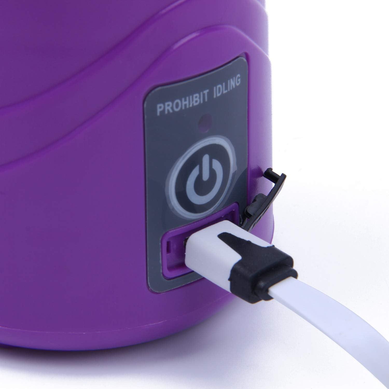CUHAWUDBA 380ml Vaso Botella de licuadora Recargable USB Batidora de citricos de Jugo Exprimidores de batido de Leche Fruta Verduras Limon Botella de exprimideras: Rosado Purpura