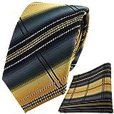 TigerTie Designer Krawatte + Einstecktuch zitronengelb gold anthrazit silber schwarz gestreift