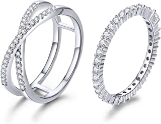 Simple Heart Rings 925 Sterling Silver White Gold Plated CZ Ring Simulated Diamond Stackable Ring Eternity Bands for Women