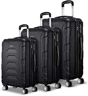 Wanderlite 3 Pcs Lightweight Luggages Hard Suitcases and Scale, Black
